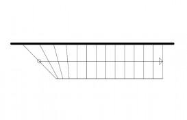 Einläufige gerade Treppe mit rechts gewendeltem Antritt
